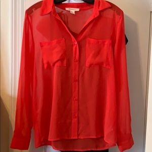 Forever 21 sheer Coral blouse